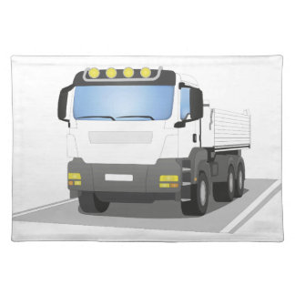 white building sites truck placemat