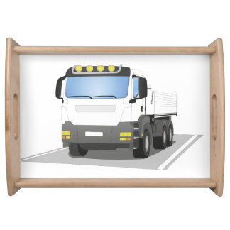 white building sites truck serving tray