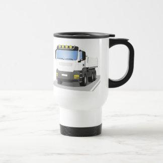 white building sites truck travel mug