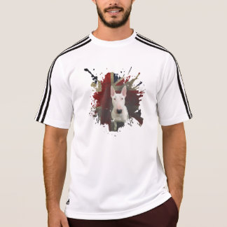 White Bull Terrier bold Union Jack Adidas t-shirt