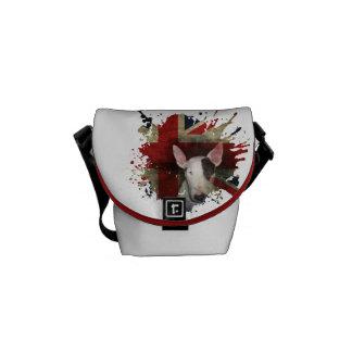 White Bull Terrier Union Jack Mini Bag Commuter Bag