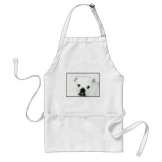 White bulldog apron