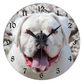 White bulldog face large clock