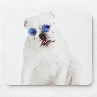 White bulldog with blue tinted shades mouse mat