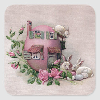 White Bunnies and Easter Egg House Square Sticker