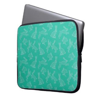 White Bunnies on Green Background Laptop Case