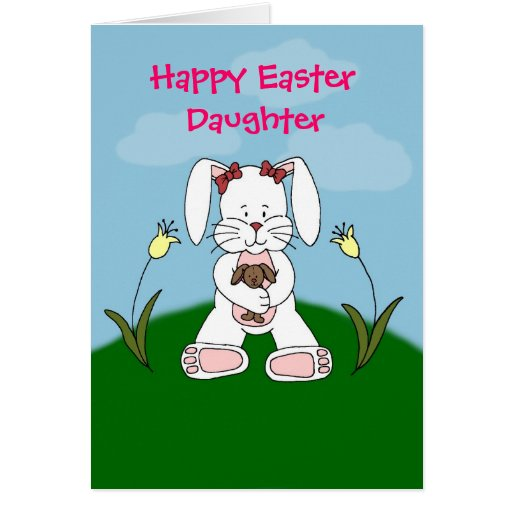 white bunny daughter easter card