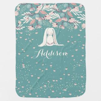 White Bunny & Flowers | Custom Name Baby Blanket