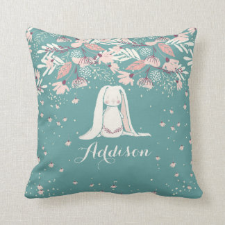 White Bunny & Flowers | Custom Name Cushion