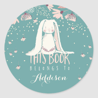 White Bunny & Flowers | This Book Belongs To Round Sticker