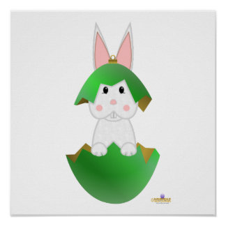 White Bunny Green Christmas Ornament Posters