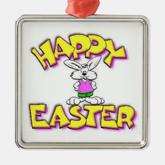 White Bunny Happy Easter Christmas Ornament
