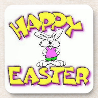 White Bunny Happy Easter Coaster