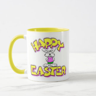 White Bunny Happy Easter Mug