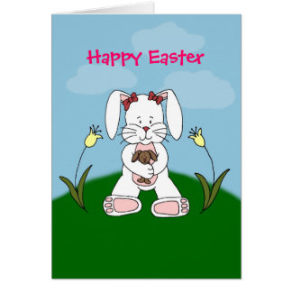 white bunny holding bunny easter card