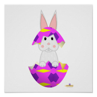 White Bunny Pink Decorated Easter Egg Poster