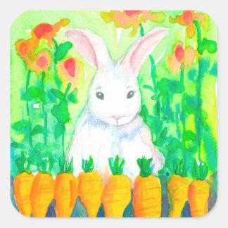White Bunny Rabbit Carrots Square Sticker