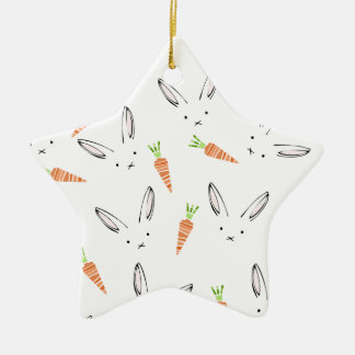 White Bunny Rabbit Orange Carrots Ditsy Ceramic Star Decoration