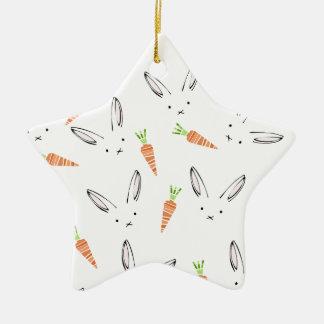 White Bunny Rabbit Orange Carrots Ditsy Christmas Ornament