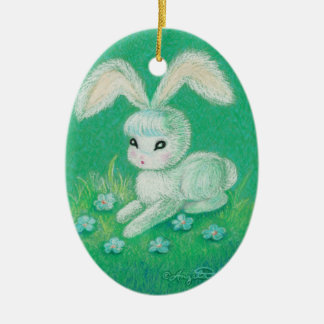 White Bunny Rabbit With Floppy Ears Ceramic Oval Decoration