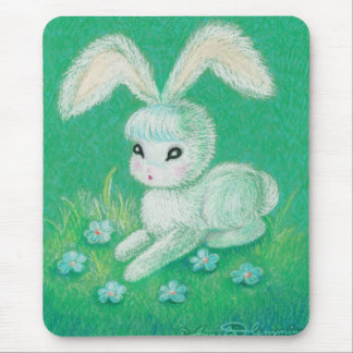 White Bunny Rabbit With Floppy Ears Mousepads
