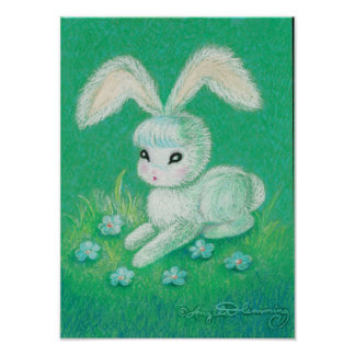 White Bunny Rabbit With Floppy Ears Poster
