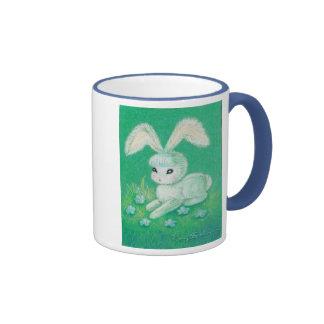 White Bunny Rabbit With Floppy Ears Ringer Mug