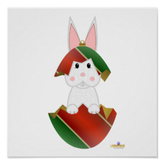 White Bunny Red Green Christmas Ornament Poster