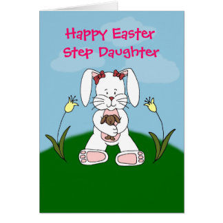 white bunny step daughter easter card