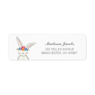 White Bunny Watercolor Flower Crown Address Labels