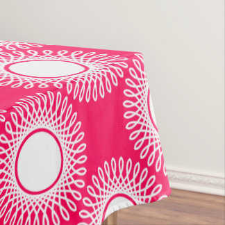 White Bursts on Summer Pink Tablecloth