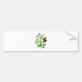 White Butterflies, Nasturtiums and WIldflowers Bumper Stickers