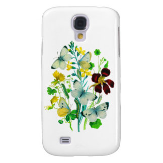 White Butterflies, Nasturtiums and WIldflowers Samsung Galaxy S4 Cover