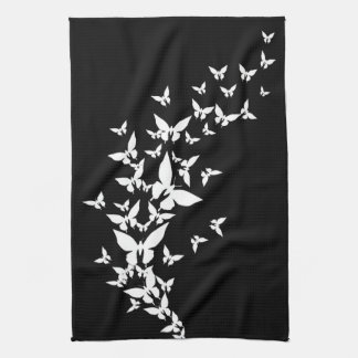 White Butterflies on Black Tea Towel