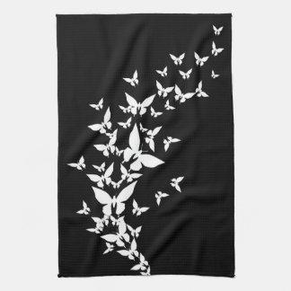 White Butterflies on Black Towel
