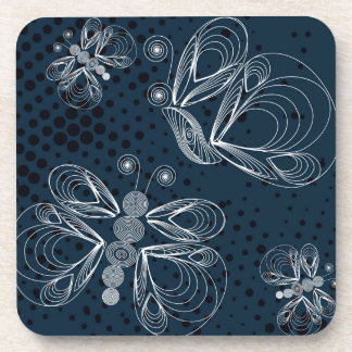 White butterflies on navy blue grunge background coaster