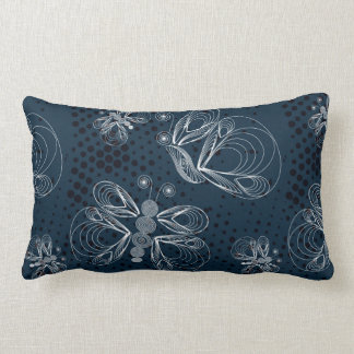 White butterflies on navy blue grunge background lumbar pillow