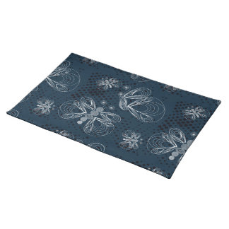 White butterflies on navy blue grunge background placemat