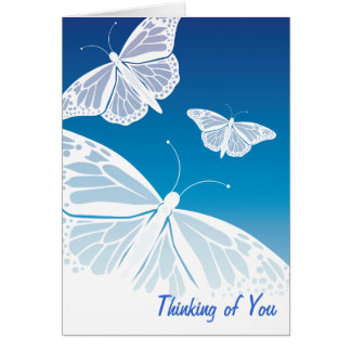 White Butterflies Thinking of You Card