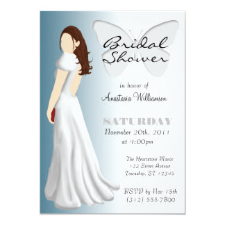 White Butterfly Elegant Bridal Shower Invitations