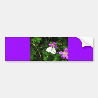 White Butterfly on Purple Geraniums Bumper Sticker