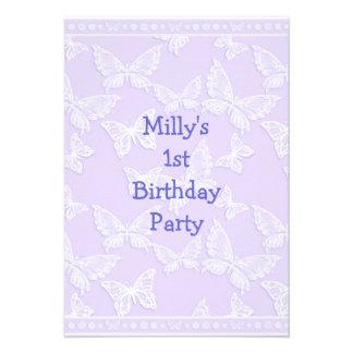 White Butterfly Pretty Blue Grey 1st Birthday Part Invitations