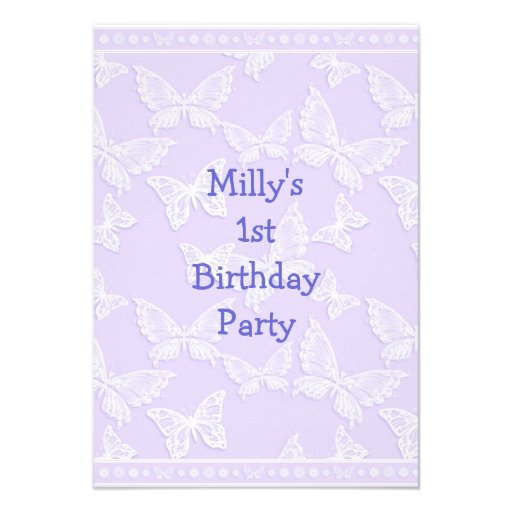 White Butterfly Pretty Blue Grey 1st Birthday Part Invitations