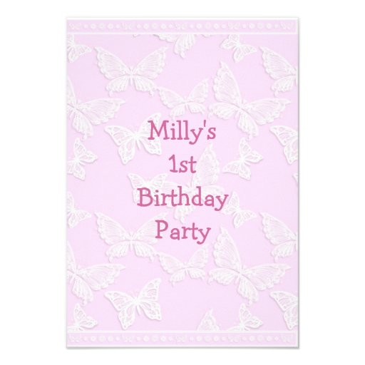 White Butterfly Pretty Pink 1st Birthday Party Custom Invites