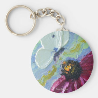 White Butterfly & Purple Cone Flowers Basic Round Button Key Ring
