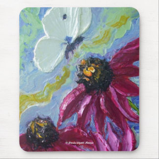 White Butterfly Purple Cone Flowers Mousepad