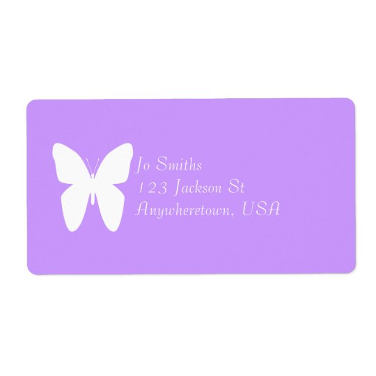 White butterfly shipping label