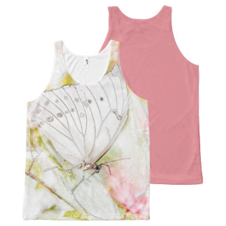 White Butterfly Watercolor Printed Unisex Tank