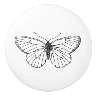 White Butterfly with simple wing design Ceramic Knob