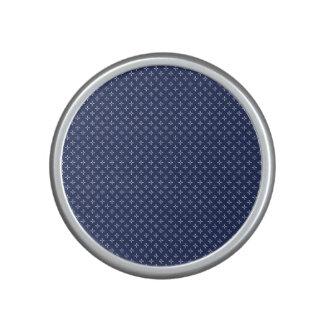 White Button Stars on Deep Blue Bluetooth Speaker